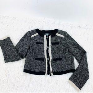 Vince Camuto Tweed Blazer Jacket Black Cropped 6